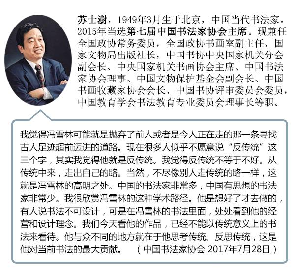 中国书法家协会主席苏士澍携书协评审员点评冯雪林书法作品