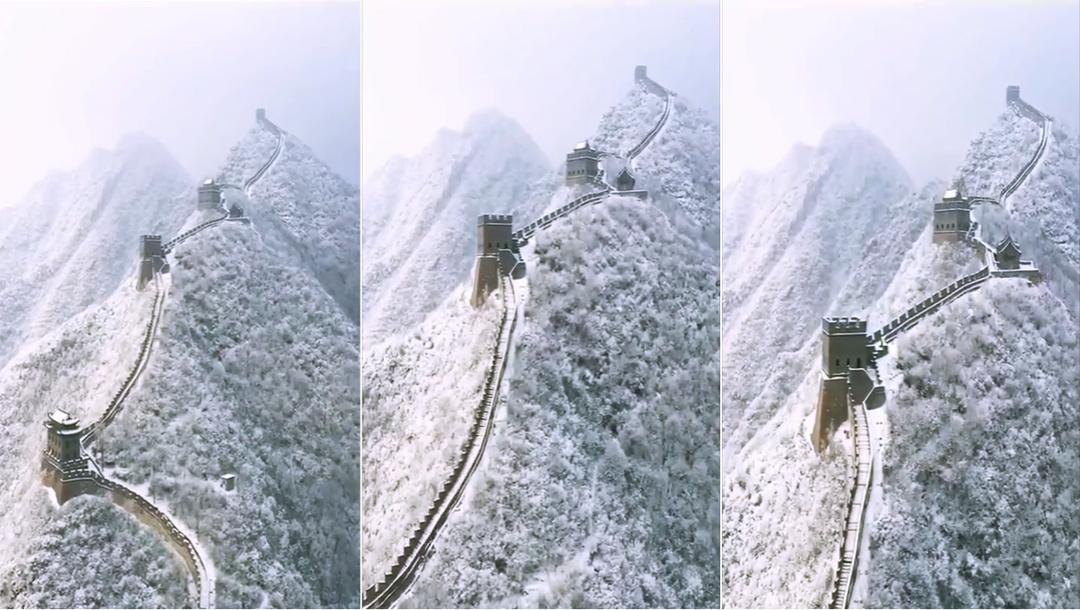 航拍长城雪景